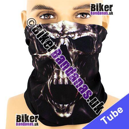 Bronzed Tortured Skull Face on Black Multifunctional Headwear / Neck Tube Bandana / Neck Warmer
