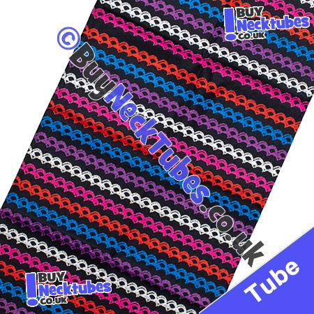 Fabric view of Knotted Multicolour Stripes on Black Multifunctional Headwear / Neck Tube Bandana / Neck Warmer