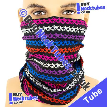 Knotted Multicolour Stripes on Black Multifunctional Headwear / Neck Tube Bandana / Neck Warmer
