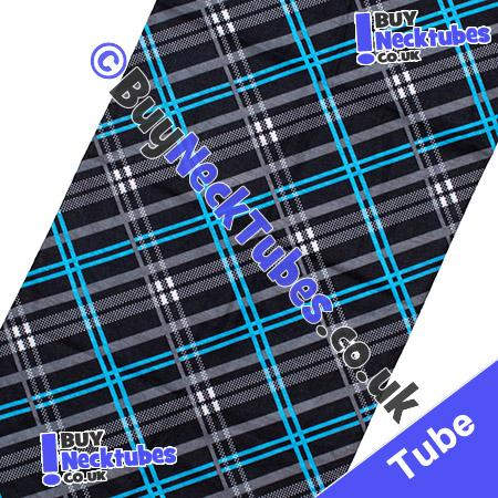 Fabric view of Black and Blue Tartan Plaid Check Multifunctional Headwear / Neck Tube Bandana / Neck Warmer