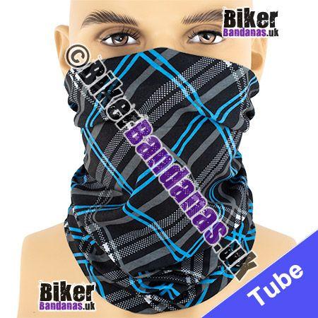 Black and Blue Tartan Plaid Check Multifunctional Headwear / Neck Tube Bandana / Neck Warmer