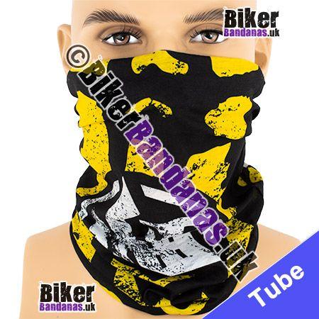 Yellow Boot Footprint on Black Multifunctional Headwear / Neck Tube Bandana / Neck Warmer