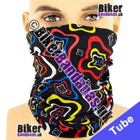 Black Wobbly Squares Multifunctional Headwear / Neck Tube Bandana / Neck Warmer