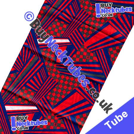 Fabric view of Red Check and Stripe Illusion Multifunctional Headwear / Neck Tube Bandana / Neck Warmer