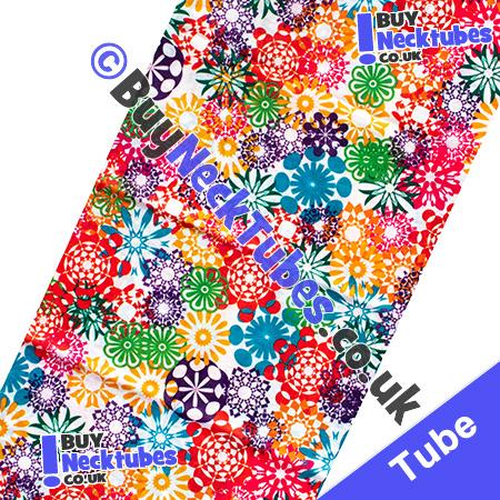 Fabric view of Psychedelic Flower Power Multifunctional Headwear / Neck Tube Bandana / Neck Warmer