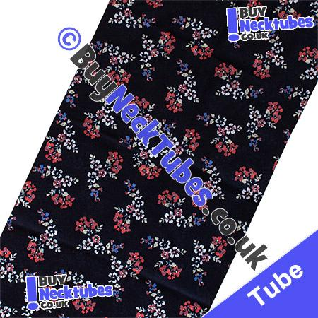 Fabric view of Small Floral Flowers on a Black Multifunctional Headwear / Neck Tube Bandana / Neck Warmer