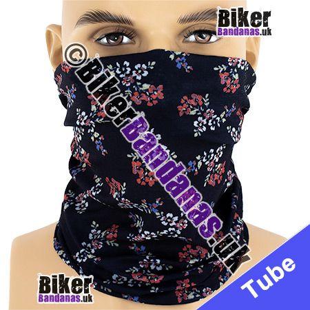 Small Floral Flowers on a Black Multifunctional Headwear / Neck Tube Bandana / Neck Warmer