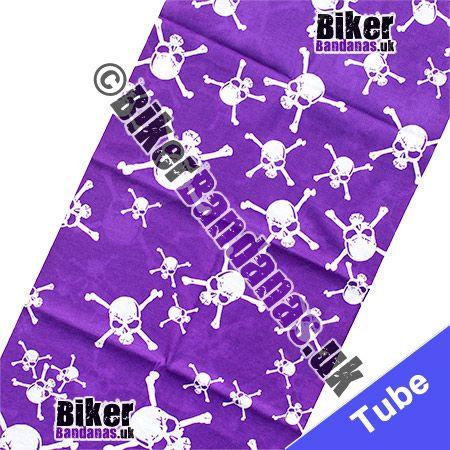Fabric view of Purple Skull and Crossbones Multifunctional Headwear / Neck Tube Bandana / Neck Warmer