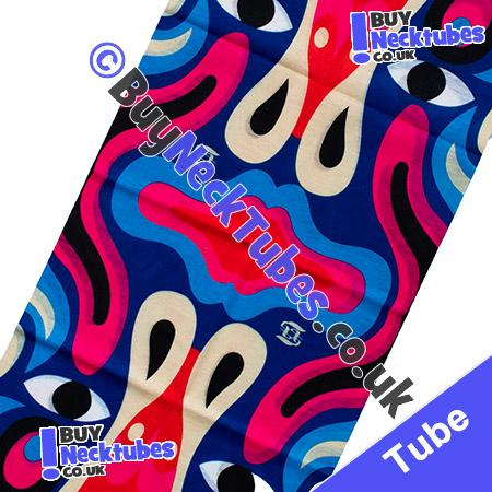 Fabric view of Blue Ethnic Totem Pole Multifunctional Headwear / Neck Tube Bandana / Neck Warmer