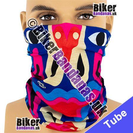 Blue Ethnic Totem Pole Multifunctional Headwear / Neck Tube Bandana / Neck Warmer