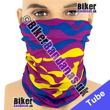 Purple Blue Yellow Amoeba Stripe Multifunctional Headwear / Neck Tube Bandana / Neck Warmer