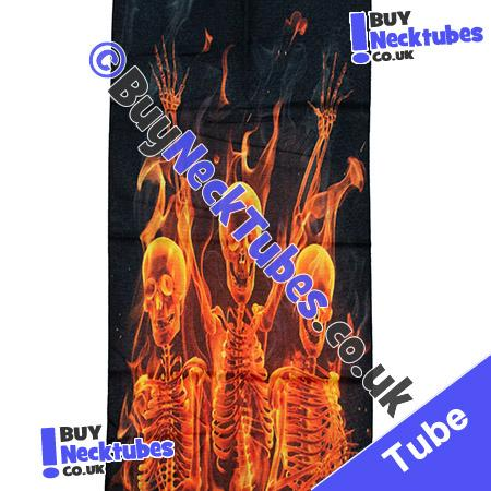 Fabric view of Flaming Skulls and Skeletons Multifunctional Headwear / Neck Tube Bandana / Neck Warmer