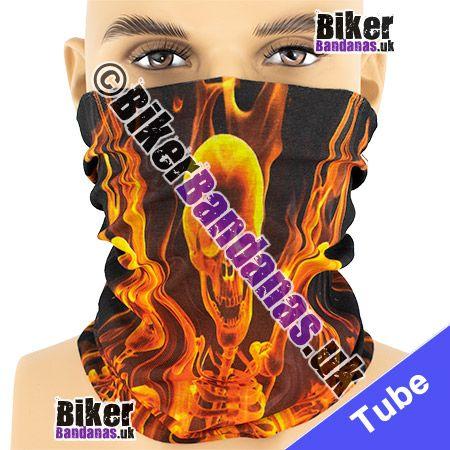 Flaming Skulls and Skeletons Multifunctional Headwear / Neck Tube Bandana / Neck Warmer