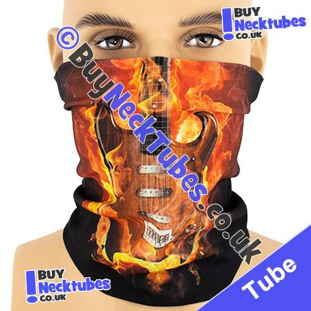 Electric Guitar in Flames on Black Multifunctional Headwear / Neck Tube Bandana / Neck Warmer