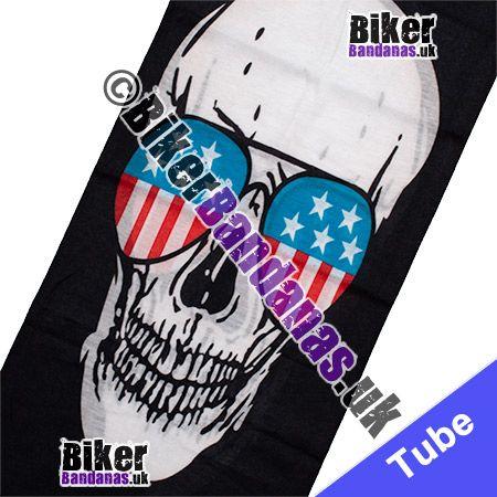 Fabric view of Skull Face wearing Stars and Stripes Aviator Sunglasses Multifunctional Headwear / Neck Tube Bandana / Neck Warmer