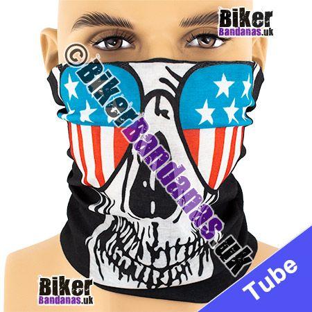 Skull Face wearing Stars and Stripes Aviator Sunglasses Multifunctional Headwear / Neck Tube Bandana / Neck Warmer