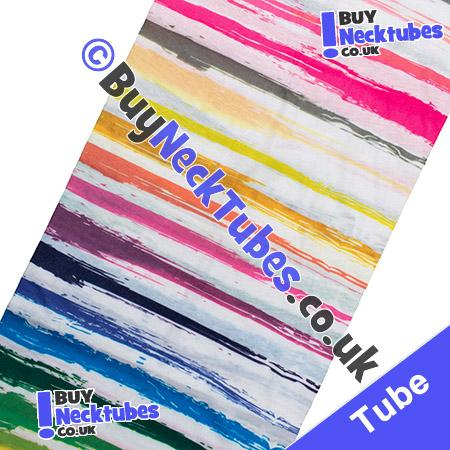 Fabric view of Painted Stripes on White Multifunctional Headwear / Neck Tube Bandana / Neck Warmer