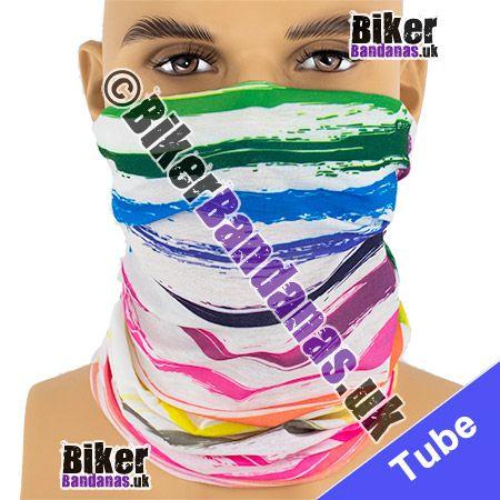 Painted Stripes on White Multifunctional Headwear / Neck Tube Bandana / Neck Warmer