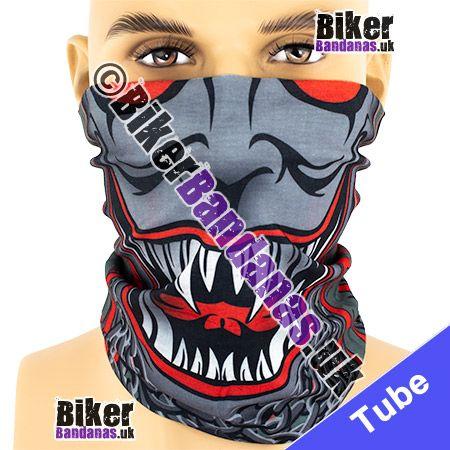 Grey and Red Skull Face Multifunctional Headwear / Neck Tube Bandana / Neck Warmer