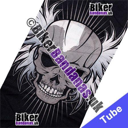 Fabric view of Single Winged Skull Face Multifunctional Headwear / Neck Tube Bandana / Neck Warmer