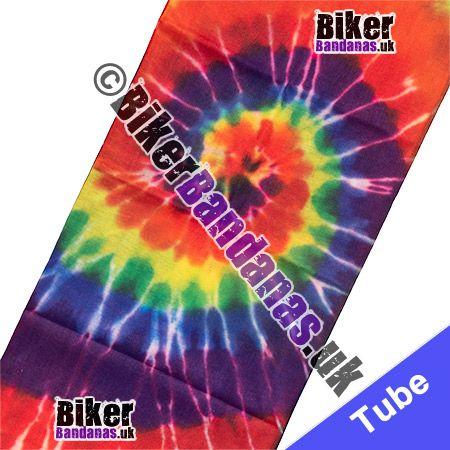 Fabric view of 60s Hippy Spiral Tie-Dye Multifunctional Headwear / Neck Tube Bandana / Neck Warmer