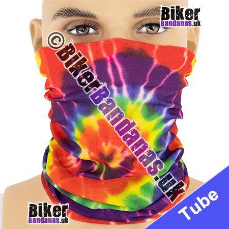 60s Hippy Spiral Tie-Dye Multifunctional Headwear / Neck Tube Bandana / Neck Warmer