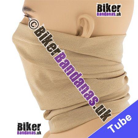 Side view of Plain Camel Beige Multifunctional Headwear / Neck Tube Bandana / Neck Warmer