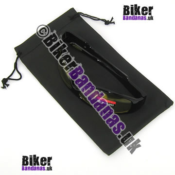 Closeup of Large Black Glasses Spectacles Sunglasses Pouch and Microfiber Cloth