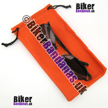 Closeup of Medium Orange Glasses Spectacles Sunglasses Pouch and Microfiber Cloth