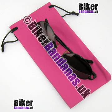 Closeup of Medium Pink Glasses Spectacles Sunglasses Pouch and Microfiber Cloth
