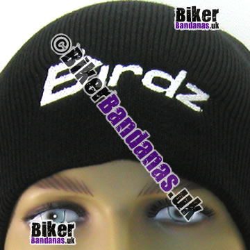 Closeup of Birdz Eyewear Black Beanie Hat with white embroidered Birdz logo