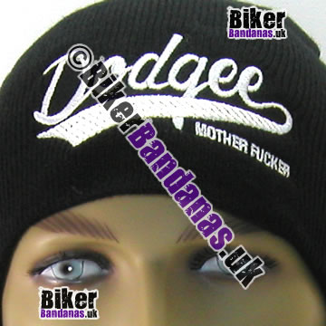 Closeup of Illicit Misery Streetwear Dodgee Mother F***** Beanie Hat