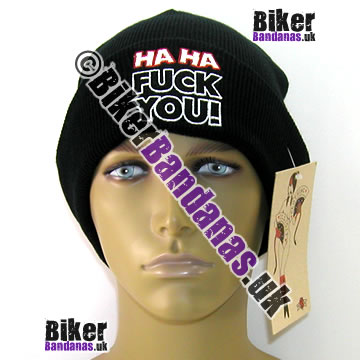 Illicit Misery Urban Streetwear Ha Ha F*** You! Beanie Hat