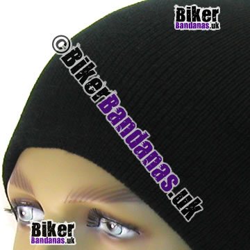 Closeup of Knitted Black Unisex Oversized Long Slouch Beanie Hat