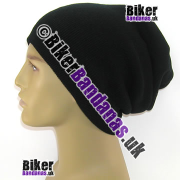 Knitted Black Unisex Oversized Long Slouch Beanie Hat