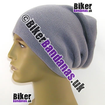Knitted Steel Grey Unisex Oversized Long Slouch Beanie Hat